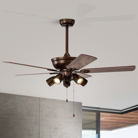 52-in Rustic Brown 5-Blades Ceiling Fan with Pull Chain