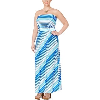 NY Collection Womens Plus Maxi Dress Strapless Striped