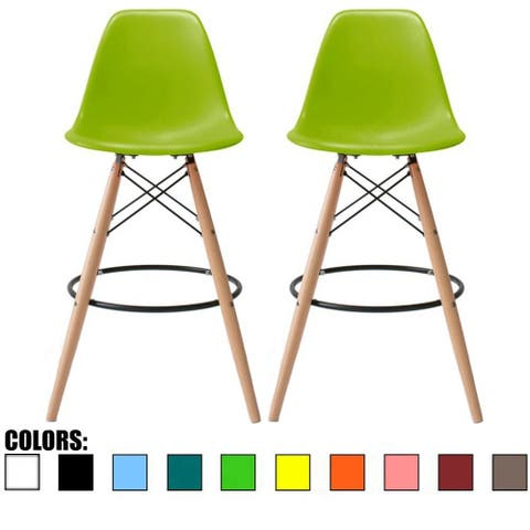 "Set of Two (2) Green 25"" Armless Bar Stool Chair With Dowel Natural Wood Eiffel Style Legs"
