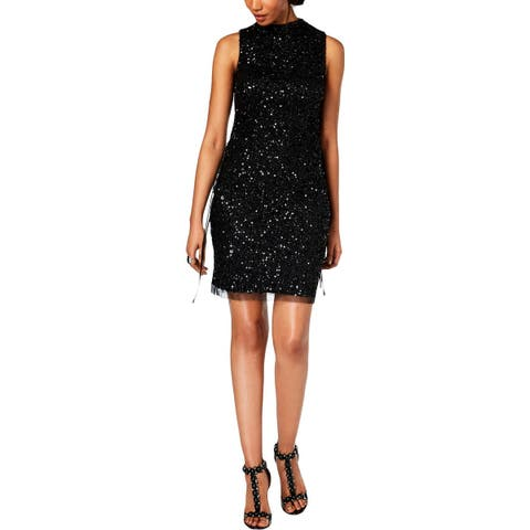Adrianna Papell Womens Cocktail Dress Sequined Sleeveless