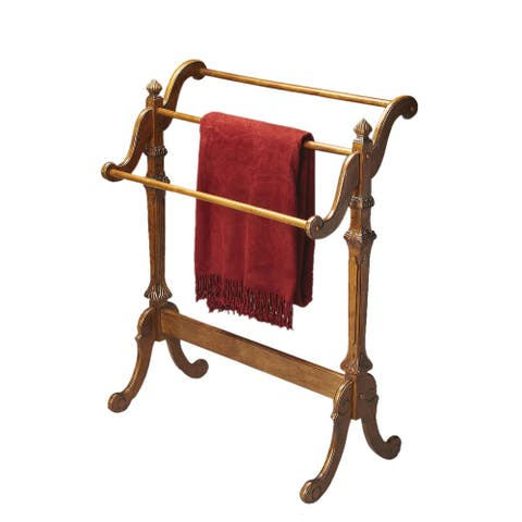 Offex Traditional Distressed Wooden Blanket Stand in Vintage Oak Finish - Medium Brown