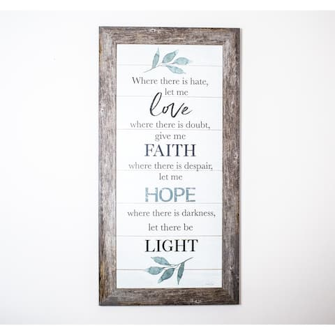 Where There Is Hate Let Me Love, Faith, Hope and Light Religious Decor Art Vertical