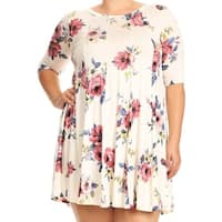 Women Plus Size Half Sleeve Floral Pleated Casual Tunic Top Dress White