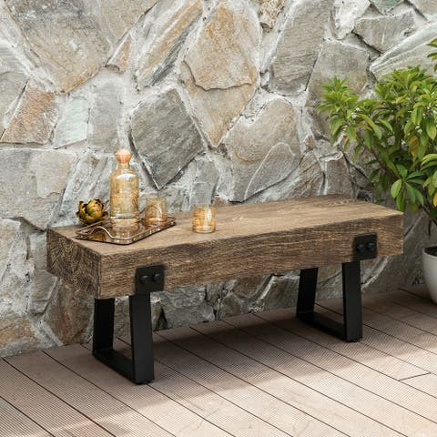 Earth-D Outdoor Indoor Patio Wood Style Bench - Seating Size: 48'' W x 15.75'' D x 18'' H