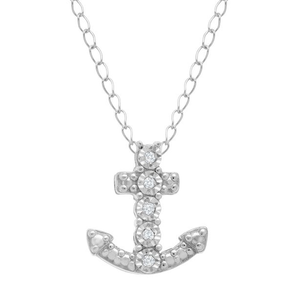 Anchor Pendant with Diamonds in Sterling Silver