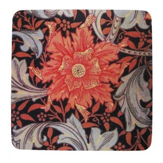 Pack of 8 Absorbent Red Flourish and Flower Print Cocktail Drink Coasters 4""