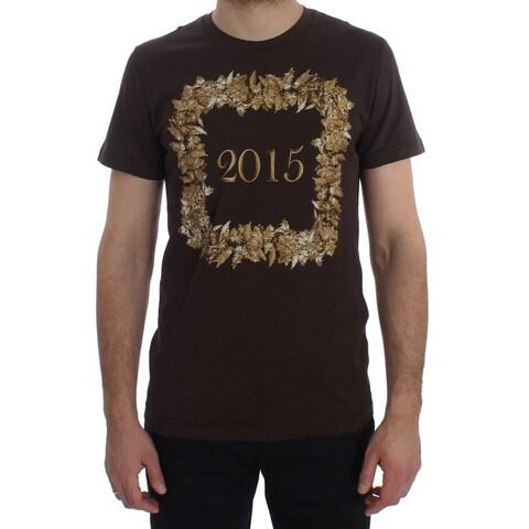 Dolce & Gabbana Dolce & Gabbana Crewneck 2015 Motive Print Brown Cotton T-shirt