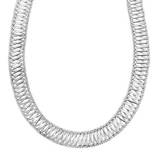 Beaded 'X' Design Chain Necklace in Sterling Silver - White