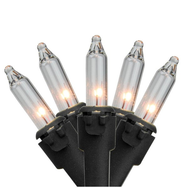 """Set of 50 Clear Mini Christmas Lights 2.5"""" Spacing - Black Wire"""