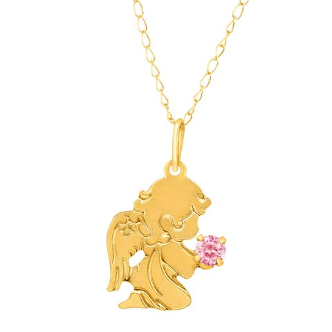 Girl's Guardian Angel Pendant with Pink Cubic Zirconia in 14K Gold