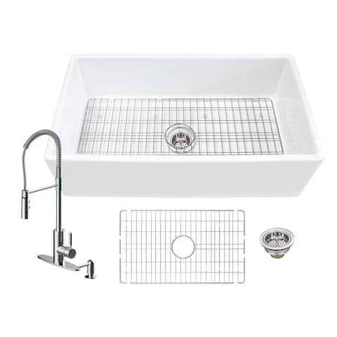 Soleil All-In-One White Fireclay Farmhouse Apron Front Single Bowl Kitchen Sink with Pull Down Kitchen Faucet