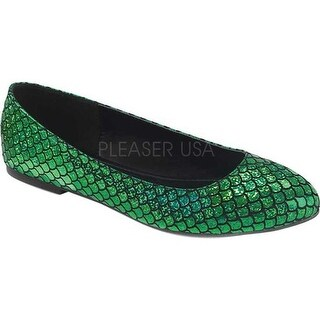 Funtasma Women's Mermaid 21 Flat Green Hologram PU