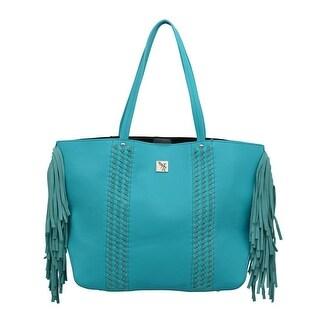"Angel Ranch Western Handbag Womens Braid Magnetic Tote Turquoise HB685 - 17 1/2"" x 6 1/4"" x 12 1/2"""