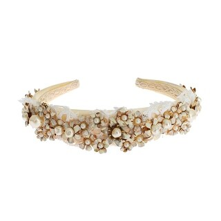 Dolce & Gabbana White Beige Silk Floral Lace Crystal Headband Hair Diadem - One size