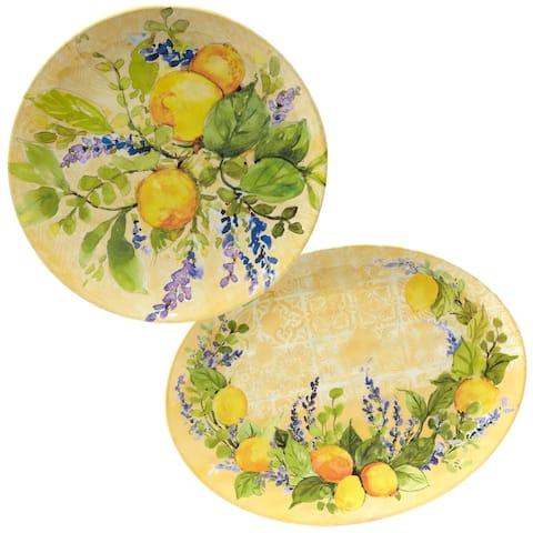 Certified International Lemon Zest 2-piece Melamine Platter Serving Set