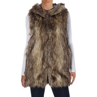 BCBGeneration Womens Vest Faux Fur Hooded - s