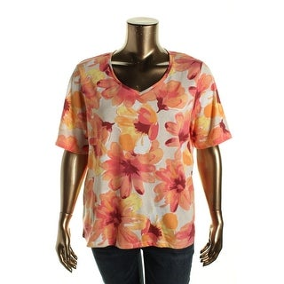 Karen Scott Womens Plus Floral Print V-Neck Casual Top - 1X