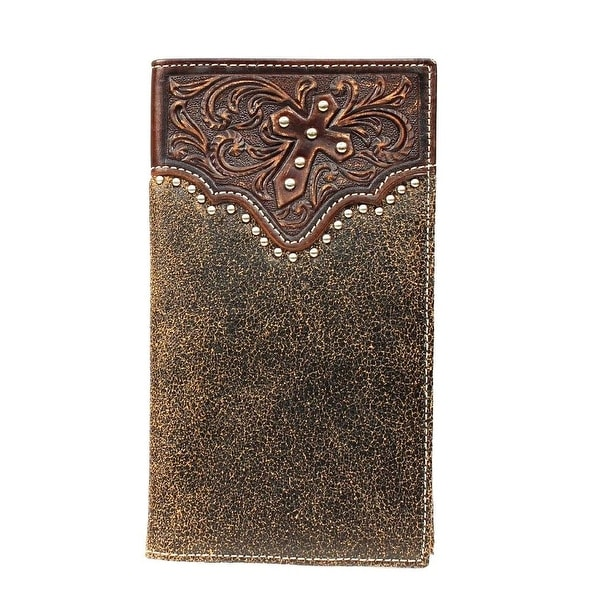 Ariat Western Wallet Mens Rodeo Checkbook Cross Studs Brown - One size
