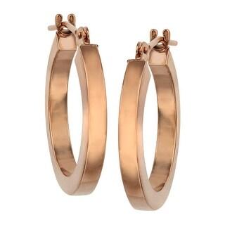 Just Gold Flat Hoop Earrings in 14K Rose Gold - Pink