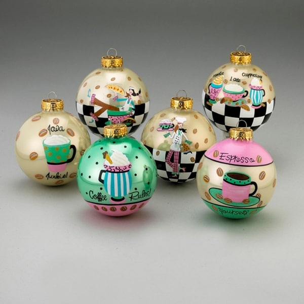 Set of 6 Coffee Break Latte, Espresso and Java Glass Ball Christmas Ornaments 3""