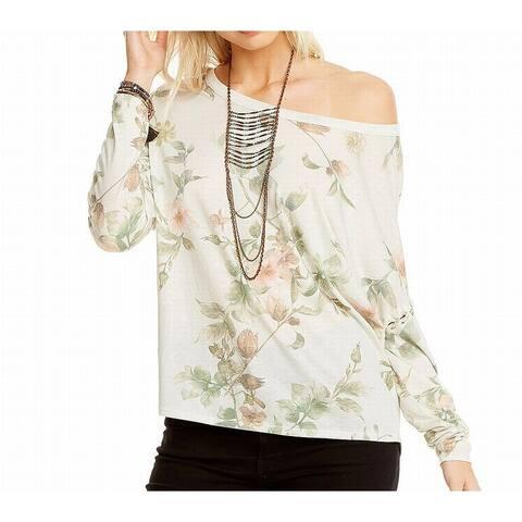 Chaser Women's White Size Large L Off Shoulder Floral Print Blouse