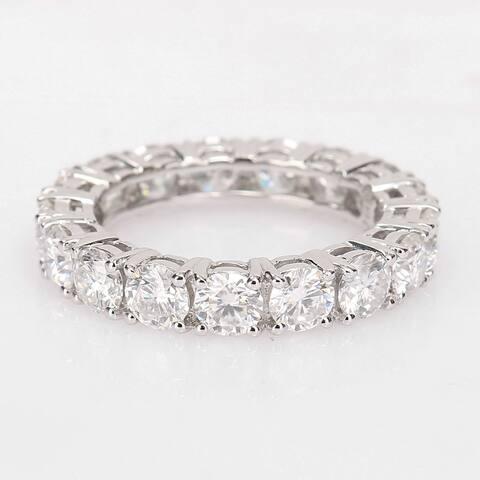 Miadora 14k White Gold 3 7/8ct TGW Created Moissanite Eternity Band Ring