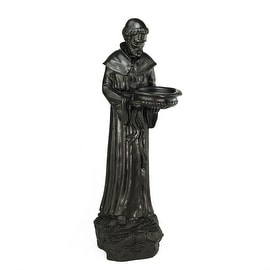 "24"" Dark Brown St. Francis of Assisi Religious Outdoor Patio Garden Statue Bird Feeder"