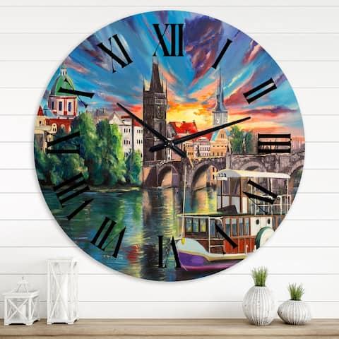 Designart 'Cityview Of Prague By Sunset' Children's Art wall clock