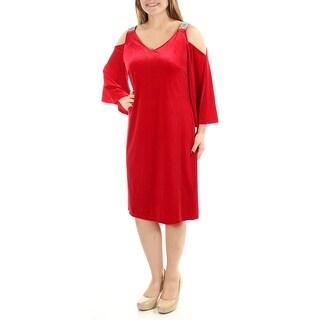MSK $79 New 1353 Red Cut Out Beaded Velvet V Neck Long Sleeve Dress 10 B+B