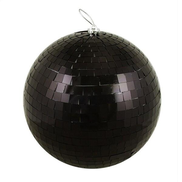 "Huge Jet Black Mirrored Glass Disco Ball Christmas Ornament 12"" (300mm)"