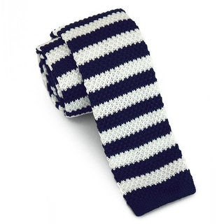 "Men's 2"" Knit Stripped Navy and White Tie"