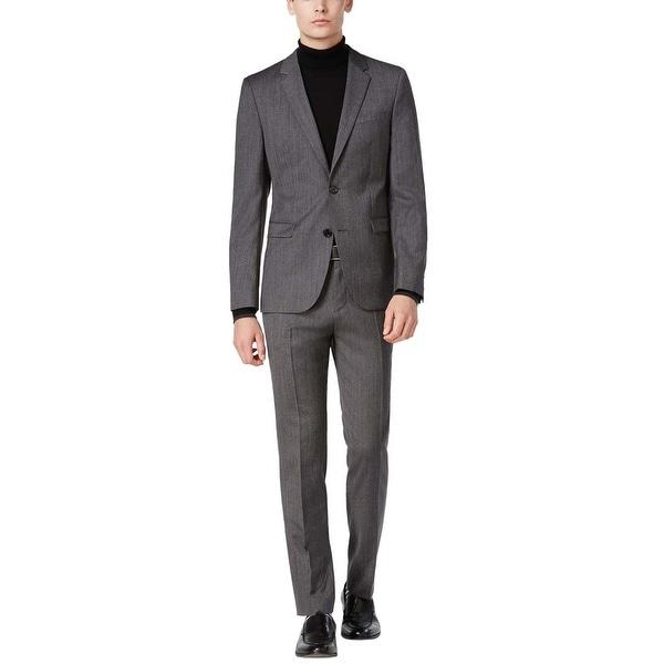 2b7f59dde Hugo Boss Astian Hets Slim Fit Grey Herringbone Wool Suit 46 Long 46L Pants  40W