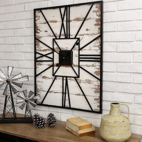 "Glitzhome 31.5""H Oversized Farmhouse Wooden and Metal Wall Clock"