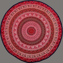"Handmade 100% Cotton Elephant Mandala Floral 81"" Round Tablecloth Blue Red Orange Green"