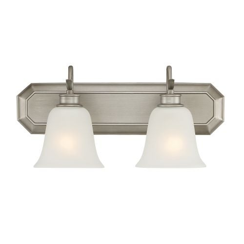 Designers Fountain 96902 Montego 2 Light Bathroom Fixture with Frosted Glass Shades