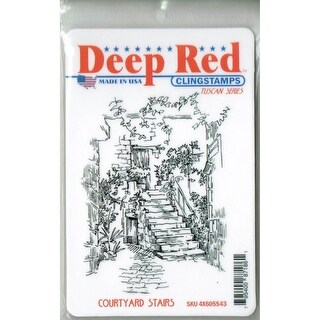 Deep Red Stamps Courtyard Stairs Rubber Cling Stamp - 3 x 4