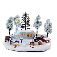 "12"" Battery Operated LED Lighted Trailer Park Christmas Scene Table Top Decoration - multi"