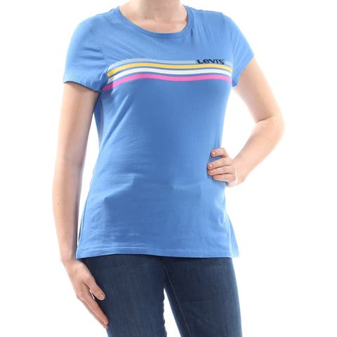 LEVI'S Womens Light Blue Logo Graphic Short Sleeve Top Size: M