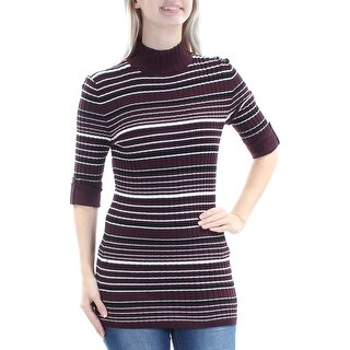 STYLE & COMPANY $49 Womens New 1182 Burgundy Striped Textured Sweater S B+B