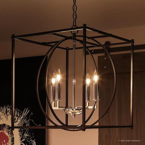 "Luxury Transitional Chandelier, 20.5""H x 18""W, with Multi-Shape Style, Natural Black Finish by Urban Ambiance"