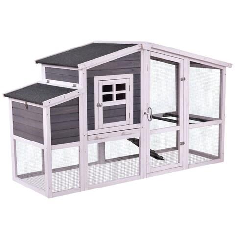 Costway 75'' Large Deluxe Wooden Chicken Coop Backyard Nest Box Hen House Hutch w/Run