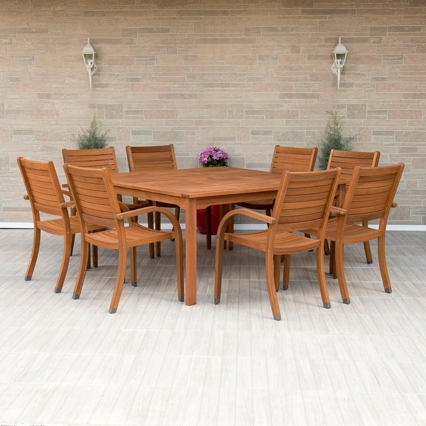 Tottenville 9 Piece Eucalyptus Wood Square Dining Set By Havenside Home Overstock 20882279