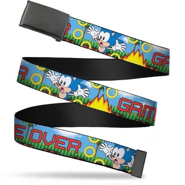 Sonic Classic Blank Black Buckle Sonic Game Over Fall Rings Webbing Web Belt