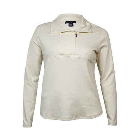 American Living Women's Asymmetrical Half-Zip Sweater - Heritage Cream - XL