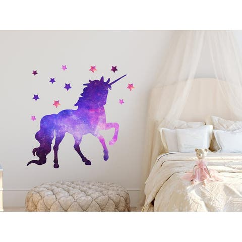 Watercolor Galaxy Unicorn Wall Decals