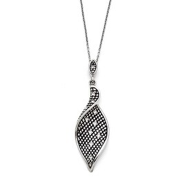 Chisel Stainless Steel Crystal Antiqued with 2.5in extension Necklace (1 mm) - 18 in