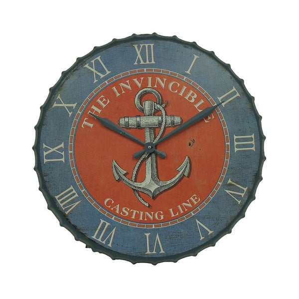 Blue and Orange Nautical Anchor 23 inch Bottle Cap Wall Clock - 23 X 23 X 1.25 inches