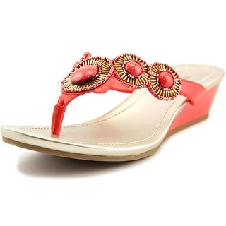 Bandolino Briah Women Open Toe Synthetic Pink Wedge Sandal