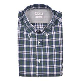Brunello Cucinelli Mens Green Blue Check Print Button Down Shirt