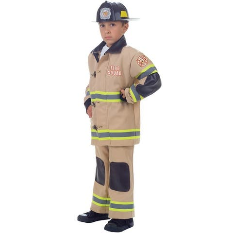 Underwraps Fire Squad Firefighter Child Costume (Tan) - Solid